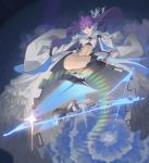 1girl absurdres ass blade blue_eyes drop_kick fate/extra fate/extra_ccc fate/grand_order fate_(series) highres lens_flare long_coat long_hair meltryllis prosthesis prosthetic_leg purple_hair sleeves_past_fingers sleeves_past_wrists
