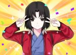1girl bangs black_eyes black_hair blue_kimono breasts closed_mouth confetti double_v emotional_engine_-_full_drive fate/grand_order fate_(series) hands_up jacket japanese_clothes kara_no_kyoukai kimono long_sleeves looking_at_viewer ompf orange_background parody parted_bangs red_jacket ryougi_shiki short_hair small_breasts solo sparkle sunburst sunburst_background v