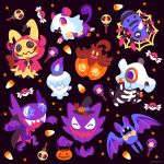 ^_^ black_background candy closed_eyes commentary creature cubone drifloon english_commentary facing_viewer fangs food gen_1_pokemon gen_2_pokemon gen_3_pokemon gen_4_pokemon gen_5_pokemon gen_6_pokemon gen_7_pokemon halloween haunter litwick looking_at_viewer mimikyu no_humans pokemon pokemon_(creature) pumpkaboo rattata sableye simple_background spinarak versiris violet_eyes zubat