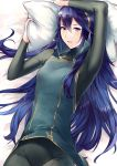 1girl ameno_(a_meno0) arm_up bangs bed_sheet black_bodysuit blue_hair blue_shirt bodysuit commentary_request cowboy_shot eyelashes fire_emblem fire_emblem_awakening gold_trim hair_between_eyes hair_spread_out holding holding_pillow long_hair long_sleeves looking_at_viewer lucina_(fire_emblem) lying on_back on_bed parted_lips pillow shiny shiny_hair shirt solo tiara turtleneck