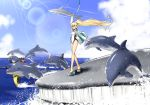 1girl black-framed_eyewear blue_sky braid commentary_request competition_swimsuit day dolphin fate/grand_order fate_(series) glasses highleg highleg_swimsuit hood hooded_jacket jacket jeanne_d'arc_(fate)_(all) jeanne_d'arc_(swimsuit_archer) long_braid long_hair long_sleeves naze_nani_karada_no_fushigi one-piece_swimsuit outdoors single_braid sky standing swimsuit takuteks whale whistle whistle_around_neck white_jacket white_swimsuit