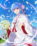 1girl blue_hair blue_sky blush bouquet church day falkyrie_no_monshou flower hair_between_eyes hair_ribbon japanese_clothes kimono natsumekinoko official_art open_mouth outdoors red_eyes red_ribbon ribbon sidelocks sky standing tassel tied_hair uchikake watermark white_kimono wide_sleeves
