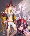 2girls alternate_costume backwards_hat bangs baseball_cap black_jacket blonde_hair blush bob_cut breasts brick_wall bubble_blowing cellphone charm_(object) chewing_gum contemporary cracked_wall deepmaru eyeliner facial_mark fang fate/grand_order fate_(series) forehead forehead_mark graffiti hair_pulled_back hat headphones highres horns ibaraki_douji_(fate/grand_order) jacket long_hair long_sleeves looking_at_viewer makeup mask midriff mouth_mask multiple_girls navel off_shoulder oni oni_horns open_clothes open_jacket open_mouth phone pointy_ears purple_hair red_headwear short_eyebrows short_hair shorts shuten_douji_(fate/grand_order) skin-covered_horns slit_pupils small_breasts smile sportswear spray_can thighs violet_eyes white_shorts white_tank_top yellow_eyes yellow_jacket