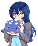 1girl artist_name blue_hair blush brown_eyes closed_mouth eyebrows_visible_through_hair highres holding holding_stuffed_animal long_hair long_sleeves looking_at_viewer love_live! love_live!_school_idol_project solo sonoda_umi stuffed_animal stuffed_toy stuffed_whale sweetie_cyanide twitter_username upper_body