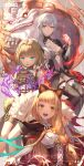 3girls :d animal_ears aqua_eyes asymmetrical_bangs bangs belt birdcage blonde_hair breasts bright_pupils brown_hair cage cloak commentary_request corset dark_persona eyebrows_visible_through_hair fake_animal_ears flat_chest frills fur_trim gretel_(sinoalice) hairband half-nightmare hansel_(sinoalice) highres hood hood_down hooded_cloak lf_(paro) little_red_riding_hood_(sinoalice) lock looking_at_viewer medium_breasts multiple_girls navel_cutout open_mouth orange_eyes padlock pale_skin parted_lips red_eyes shrug_(clothing) sinoalice skirt skirt_lift small_breasts smile snow_white_(sinoalice) thigh_strap upper_teeth white_hair white_pupils