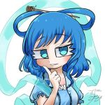 1girl avatar_icon blue_dress blue_hair chamaji commentary_request dress eyebrows_visible_through_hair finger_to_cheek frilled_blouse frills hair_ornament hair_rings hair_stick kaku_seiga looking_at_viewer lowres shawl short_hair short_sleeves signature solo touhou upper_body vest white_background