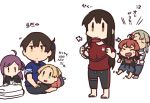 6+girls ahoge akagi_(kantai_collection) alternate_costume arashi_(kantai_collection) bangs betchan blonde_hair brown_hair closed_eyes closed_mouth commentary_request hagikaze_(kantai_collection) holding joy-con kaga_(kantai_collection) kantai_collection long_hair maikaze_(kantai_collection) multiple_girls nowaki_(kantai_collection) open_mouth pants ponytail purple_hair redhead ring-con ring_fit_adventure shirt side_ponytail silver_hair simple_background sitting standing translated white_background