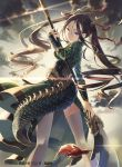 1girl brown_eyes brown_hair clouds company_name copyright_request dragon_horns dragon_tail glint h2so4 horns long_hair looking_at_viewer looking_back naginata official_art outdoors polearm solo standing tail thigh-highs twintails weapon