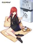 1girl :t bare_legs black_legwear black_shirt breast_pocket closers collarbone collared_shirt eating flat_chest highres holding jewelry long_hair looking_at_viewer mat necklace official_art parfait partially_unbuttoned pillow pocket red_eyes redhead shirt socks solo spoon tina_(closers)