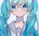 1girl aqua_eyes aqua_hair collar collared_shirt commentary crying crying_with_eyes_open eighth_note expressionless glasses hatsune_miku isomu long_hair long_neck looking_at_viewer musical_note musical_note_print sailor_collar school_uniform shirt solo tears twintails upper_body vocaloid white_collar