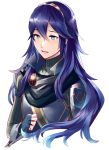 1girl ameno_(a_meno0) armor bangs blue_hair commentary_request crying fingerless_gloves fire_emblem fire_emblem:_kakusei fire_emblem_13 fire_emblem_awakening gloves gold_trim hair_between_eyes intelligent_systems long_hair long_sleeves lucina lucina_(fire_emblem) nintendo sad shiny shiny_hair shoulder_armor simple_background solo tiara turtleneck upper_body white_background