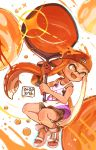 1girl backwards_hat bangs baseball_cap black_shorts blunt_bangs blurry blurry_background bubble_blower_(splatoon) commentary dated domino_mask fangs gym_shorts harutarou_(orion_3boshi) hat highres holding holding_weapon ink_tank_(splatoon) inkling jumping legs_up logo long_hair looking_to_the_side mask open_mouth orange_eyes orange_hair orange_headwear orange_theme paint_splatter pointy_ears sandals shirt short_shorts shorts smile solo splatoon_(series) splatoon_2 tan tank_top tentacle_hair weapon white_footwear white_shirt