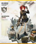 1girl adjusting_eyewear alternate_costume ammunition_belt arknights bangs bare_legs black_footwear black_gloves black_jacket brown_eyes container detached_wings exusiai_(arknights) eyewear_on_head full_body gloves grey_shorts gun hair_over_one_eye halo hand_up holding holding_gun holding_weapon holster huanxiang_heitu jacket long_sleeves looking_at_viewer official_art redhead rifle shadow shoes short_hair short_shorts shorts smile solo standing sunglasses thigh_holster weapon wings
