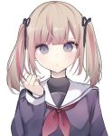 1girl bandaid bandaid_on_finger bangs black_ribbon black_shirt blue_eyes brown_hair closed_mouth commentary_request eyebrows_behind_hair hair_ribbon hand_up highres holding holding_hair looking_at_viewer multicolored_hair neckerchief original red_neckwear redhead ribbon sailor_collar school_uniform serafuku shirt simple_background solo streaked_hair tsuruse twintails upper_body white_background white_sailor_collar