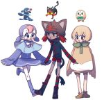3girls bird black_eyes commentary creature creature_and_personification gen_7_pokemon glasses light_brown_hair litten love-with---pizza multiple_girls open_mouth personification pokemon pokemon_(creature) popplio redhead rowlet short_twintails simple_background standing symbol_commentary twintails walking white_background