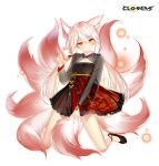 1girl animal_ear_fluff animal_ears black_dress blonde_hair closers dress fingernails flats fox_ears fox_tail frilled_dress frills highres kneeling kumiho long_hair long_sleeves looking_at_viewer low_twintails magic multicolored_hair multiple_tails official_art orb red_eyes see-through_sleeves sharp_fingernails solo tail thighs tina_(closers) twintails two-tone_hair v-shaped_eyebrows very_long_hair