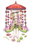 1girl bangs bow doll drum feet food food_fantasy footwear_removed fruit green_shorts hair_bow highres hishi_mochi_(food_fantasy) hishimochi holding holding_doll instrument japanese_clothes kimono lantern long_hair long_sleeves looking_at_viewer mallet multicolored_hair official_art peach pink_eyes scissors shorts sitting solo streaked_hair striped striped_bow tachi-e thigh-highs thread very_long_hair white_hair white_legwear wide_sleeves yarn yarn_ball