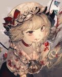 1girl alternate_costume ambiguous_red_liquid ascot black_neckwear blonde_hair blood blood_on_face bloody_clothes bloody_hair bow bow_earrings choker commentary_request crystal earrings expressionless flandre_scarlet food frilled_shirt_collar frills fruit hat hat_bow holding holding_food holding_fruit jewelry looking_at_viewer majamari mob_cap one_side_up puffy_short_sleeves puffy_sleeves red_bow red_eyes red_lips short_hair_with_long_locks short_sleeves solo strawberry touhou upper_body wings