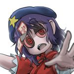 1girl avatar_icon beret blue_hair chamaji commentary eyebrows_visible_through_hair hat jiangshi looking_at_viewer lowres miyako_yoshika neck_ribbon ofuda open_mouth outstretched_arms red_eyes red_shirt ribbon sharp_teeth shirt short_hair short_sleeves signature solo star teeth touhou upper_body white_background zombie_pose