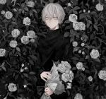 1boy absurdres bishounen black_sweater bouquet closed_mouth denki_ryu flower hair_between_eyes highres holding holding_bouquet leaf male_focus original rose solo standing sweater white_eyes white_flower white_hair white_rose