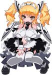 1girl apron arm_grab black_footwear black_neckwear blonde_hair blush brave_sword_x_blaze_soul breasts detached_collar detached_sleeves eyebrows_visible_through_hair full_body garter_straps headdress large_breasts long_hair looking_at_viewer maid maid_apron maid_headdress necktie official_art open_mouth showgirl_skirt simple_background solo strappy_heels thigh-highs twintails white_background white_legwear wings yellow_eyes zankuro