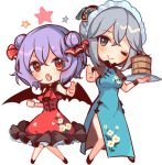 2girls alternate_costume bat_wings black_footwear blue_eyes blush chibi china_dress chinese_clothes commentary double_bun dress fang full_body hair_ornament hair_ribbon holding holding_tray izayoi_sakuya kirero looking_at_viewer maid_headdress multiple_girls one_eye_closed open_mouth outstretched_arm purple_hair red_dress red_eyes red_neckwear red_ribbon remilia_scarlet ribbon short_sleeves smile star touhou tray white_background wings wristband