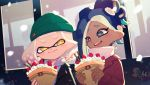 2girls alternate_hairstyle alternate_headwear aqua_hair bangs beanie black_collar black_hair blunt_bangs casual closed_mouth collar commentary cream crepe dark_skin domino_mask dutch_angle earrings food fruit gradient_hair green_headwear hair_up hat highres hime_(splatoon) holding holding_food iida_(splatoon) jewelry looking_at_viewer makeup mascara mask medium_hair mole mole_under_mouth multicolored_hair multiple_girls octarian open_mouth pink_hair pink_pupils piu_(piu55jsr) red_collar scarf sitting smile snow splatoon_(series) splatoon_2 strawberry suction_cups tentacle_hair white_hair white_scarf yellow_eyes