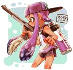 1girl backwards_hat bangs baseball_cap black_shorts blunt_bangs brown_eyes commentary_request cropped_legs dated domino_mask from_side gym_shorts harutarou_(orion_3boshi) hat highres holding holding_weapon ink_tank_(splatoon) inkling long_hair mask n-zap_(splatoon) pointy_ears purple_hair purple_headwear purple_shirt shirt short_shorts shorts solo splatoon_(series) splatoon_2 standing tan tank_top tentacle_hair weapon