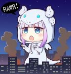 1girl animal_costume bangs blue_eyes blunt_bangs building chibi cityscape claw_pose commentary dragon_costume drawstring eyebrows_visible_through_hair giantess gradient_hair hood hood_up horns kanna_kamui kanna_kamui_(dragon)_(maidragon) kobayashi-san_chi_no_maidragon lavender_hair looking_away multicolored_hair night open_mouth outdoors purple_hair round_teeth sidelocks smoke solo speech_bubble tail teeth upper_teeth vermeith