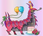 ^_^ balloon birthday birthday_cake cake closed_eyes commentary creature eating english_commentary food full_body gen_5_pokemon hat no_humans papillonthepirate party_hat pokemon pokemon_(creature) purple_background scolipede simple_background standing traditional_media venipede yellow_eyes