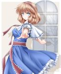 1girl :o akino_irori alice_margatroid arms_up bare_tree blonde_hair blue_dress blue_eyes breasts capelet commentary cowboy_shot dress drop_shadow eyebrows_visible_through_hair from_side grey_background hairband highres lolita_hairband looking_at_viewer medium_breasts petticoat pointing pointing_at_viewer puffy_short_sleeves puffy_sleeves sash short_hair short_sleeves simple_background solo standing touhou tree white_capelet white_sleeves window