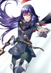 1girl ameno_(a_meno0) armor bangs black_bodysuit blue_footwear blue_hair blue_shirt bodysuit boots closed_mouth feet_out_of_frame fingerless_gloves fire_emblem fire_emblem_awakening gloves gradient gradient_background hair_between_eyes hair_spread_out holding holding_sword holding_weapon long_hair long_sleeves looking_at_viewer lucina lucina_(fire_emblem) outstretched_arm shiny shiny_hair shirt shoulder_armor simple_background solo sword thigh-highs thigh_boots tiara weapon white_background