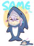 1girl absurdres ahoge blush chibi cosplay flower girls_frontline highres kigurumi lavender_eyes lavender_hair m200_(girls_frontline) shark_costume sidelocks sleeping solo zumikusu zzz