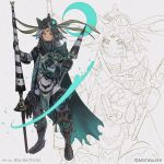 1boy 1other armor blue_eyes cape facial_mark gauntlets gloves glowing greaves green_cape grey_gloves grey_hair helmet highres holding holding_another holding_lance holding_weapon lance makushiro pauldrons polearm sketch standing terra_battle torn_cape torn_clothes weapon
