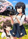 2girls :d alternate_costume black_hair blue_skirt blue_sky blush braid brown_eyes brown_hair camera cherry_blossoms clothes_writing clouds collarbone cowboy_shot day eyebrows_visible_through_hair female_pervert flower ground_vehicle hair_between_eyes highres holding holding_camera ichikawa_feesu isonami_(kantai_collection) kantai_collection long_hair multiple_girls open_mouth pervert shirt short_sleeves single_braid skirt sky smile smoke tongue tongue_out train twin_braids uranami_(kantai_collection) white_shirt yellow_flower