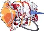 bibi cable chibi clenched_hand darling_in_the_franxx fighting_stance foreshortening horn lance mecha mecha_musume polearm red_eyes robot strelizia weapon