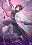1girl adsouto black_hair black_jacket black_legwear black_pants breasts brown_eyes bug butterfly butterfly_hair_ornament closed_mouth clouds cloudy_sky flower full_body gradient_hair hair_ornament highres holding holding_sword holding_weapon insect jacket katana kimetsu_no_yaiba kochou_shinobu large_breasts leg_up long_sleeves looking_at_viewer military military_uniform multicolored_hair pants purple_flower purple_hair shiny shiny_hair sidelocks signature sky smile solo sword tabi tied_hair uniform weapon