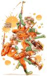 2boys 2girls bangs baseball_cap blue_eyes blunt_bangs boots commentary_request dated domino_mask fang gloves green_footwear green_gloves green_headwear grin grizzco_blaster_(splatoon) harutarou_(orion_3boshi) hat highres holding holding_weapon inkling jumping leaning_forward lifebuoy long_hair long_sleeves mask medium_hair multiple_boys multiple_girls open_mouth orange_hair orange_overalls overalls paint_splatter pointy_ears print_headwear raised_fist rubber_boots rubber_gloves running salmon_run shirt short_hair short_ponytail smile sparkle splat_charger_(splatoon) splatoon_(series) splatoon_2 sploosh-o-matic_(splatoon) tan tentacle_hair weapon white_shirt