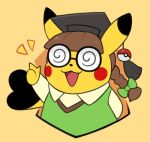 :d bangs bespectacled blunt_bangs braid brown_hair clothed_pokemon coke-bottle_glasses commentary cosplay_pikachu creature english_commentary gen_1_pokemon glasses green_ribbon hat hatted_pokemon krystal_fleming mortarboard no_humans open_mouth pikachu pikachu_phd pokemon pokemon_(creature) ribbon smile solo tied_hair twin_braids