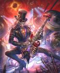 \n/ artist_request chain concert eclipse electric_guitar guitar hat he_who_once_rocked instrument jacket leather leather_jacket leather_pants long_hair loudspeaker music official_art pants playing_instrument ribs shadowverse skeleton solar_eclipse spotlight top_hat white_hair