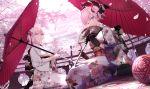 2girls ahoge architecture ball black_gloves blue_eyes building cherry_blossoms cushion east_asian_architecture eyebrows_visible_through_hair fan fate/grand_order fate_(series) floral_print folding_fan gloves hair_ornament highres japanese_clothes kimono looking_at_viewer miyamoto_musashi_(fate/grand_order) multiple_girls obi okita_souji_(alter)_(fate) okita_souji_(fate)_(all) one_eye_closed oriental_umbrella petals railing sash shinooji short_hair sitting temari_ball umbrella yellow_eyes