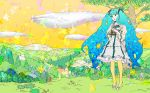1girl album_cover aqua_eyes aqua_hair binoculars cover flying_whale forest hatsune_miku highres holding_binoculars long_hair nagimiso nature orange_sky outdoors river scenery sky solo tree twintails very_long_hair vocaloid whale wide_shot