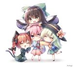 4girls :d ^_^ animal_ears artist_name bangs black_bow black_footwear black_hair black_hairband black_headwear black_wings blue_shirt blush bow braid brown_eyes cat_ears cat_tail chibi closed_eyes commentary_request dress eyebrows_visible_through_hair feathered_wings floral_print green_bow green_dress green_hair green_skirt hair_between_eyes hair_bow hair_ornament hairband hand_up hat hat_bow head_tilt heart heart_hair_ornament highres juliet_sleeves kaenbyou_rin komeiji_koishi komeiji_satori long_hair long_sleeves looking_at_viewer looking_to_the_side miniskirt multiple_girls multiple_tails nekomata open_mouth paw_pose pink_eyes pink_footwear pink_hair pink_skirt pudding_(skymint_028) puffy_sleeves redhead reiuji_utsuho shadow shirt shoes short_hair siblings signature simple_background sisters skirt smile standing standing_on_one_leg tail third_eye touhou twin_braids twintails two_tails white_background wide_sleeves wings yellow_bow yellow_shirt