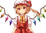 1girl bangs blonde_hair eyebrows_visible_through_hair flandre_scarlet hat long_hair looking_at_viewer maitacoco mob_cap puffy_short_sleeves puffy_sleeves red_eyes ribbon short_sleeves side_ponytail simple_background solo touhou white_background white_headwear wings yellow_neckwear yellow_ribbon