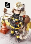 1girl :o animal animal_ears animal_ears_helmet arknights black_footwear black_gloves black_jacket boots brown_eyes brown_hair commentary_request fake_animal_ears fire_helmet fire_jacket firefighter full_body gloves grey_background helmet highres holding jacket knee_pads long_sleeves looking_at_viewer megaphone netamaru open_mouth oxygen_tank shaw_(arknights) simple_background solo squirrel squirrel_ears squirrel_girl squirrel_tail standing tail tiles traffic_cone upper_teeth white_headwear