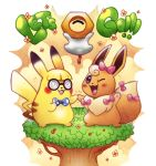 coke-bottle_glasses commentary copyright_name creature eevee english_commentary facing_viewer flower gen_1_pokemon gen_7_pokemon glasses happy highres krystal_fleming meltan no_humans pikachu pink_ribbon pokemon pokemon_(creature) ribbon tree violet_eyes