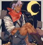 1boy bandana bara beard belt between_legs black_footwear black_horns crescent dark_skin dark_skinned_male earrings edmon_(pixiv_fantasia_age_of_starlight) facial_hair feet_out_of_frame gold_coin hand_between_legs highres horns jewelry julia_yit licking_lips looking_at_viewer male_focus paper pink_eyes pixiv_fantasia pixiv_fantasia_age_of_starlight pointy_ears purple_hair shirt shorts sitting skull_earrings tail tongue tongue_out white_shirt
