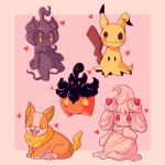 alcremie commentary creature dog english_commentary fangs food fruit full_body gen_6_pokemon gen_7_pokemon gen_8_pokemon heart highres lavenderhomo looking_at_viewer marshadow marshadow_(gloom) mimikyu no_humans pink_background pokemon pokemon_(creature) pumpkaboo simple_background standing standing_on_one_leg strawberry yamper