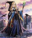1girl artist_request bangs bare_tree bird blonde_hair blue_eyes cloak fingerless_gloves forehead gloves hair_flowing_over holylight_convert hood hood_up jewelry long_hair looking_at_viewer official_art parted_bangs raven_(animal) ring robe shadowverse solo staff tree very_long_hair well wide_sleeves