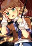 1girl arm_warmers bangs blonde_hair blush eyebrows_visible_through_hair green_eyes hands_up highres holding holding_umbrella looking_to_the_side maitacoco mizuhashi_parsee open_mouth oriental_umbrella pointy_ears rain scarf short_hair solo touhou umbrella white_scarf